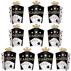 Las Vegas - Table Decorations - Casino Party Fold and Flare Centerpieces - 10 Count