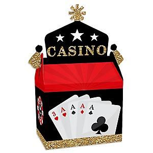 Las Vegas - Treat Box Party Favors - Casino Party Goodie Gable Boxes - Set of 12