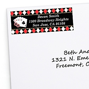 Las Vegas - Personalized Casino Party Return Address Labels - 30 ct
