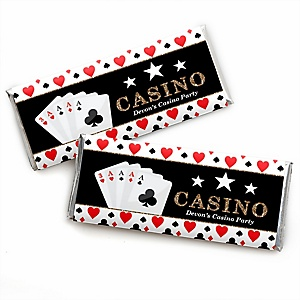 Las Vegas - Personalized Candy Bar Wrapper Casino Party Favors - Set of 24