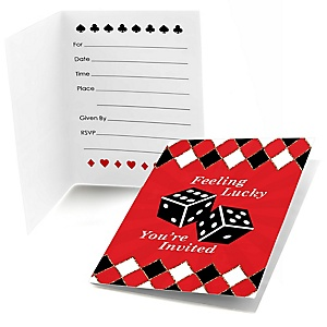 Las Vegas - Set of 8 Fill In Casino Party Invitations