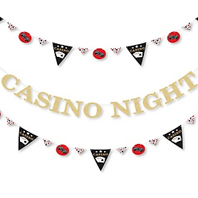 Las Vegas - Casino Party Letter Banner Decoration - 36 Banner Cutouts and No-Mess Real Gold Glitter Casino Night Banner Letters