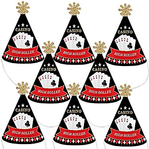 Las Vegas - Mini Cone Casino Party Hats - Small Little Party Hats - Set of 8