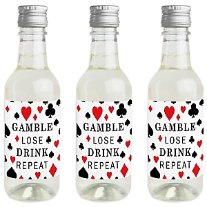 Las Vegas - Mini Wine and Champagne Bottle Label Stickers - Casino Party Favor Gift for Women and Men - Set of 16