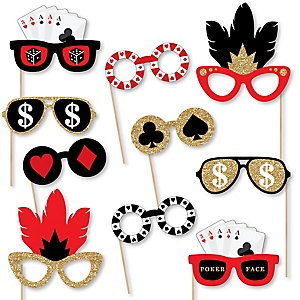 Las Vegas Glasses - Paper Card Stock Casino Party Photo Booth Props Kit - 10 Count
