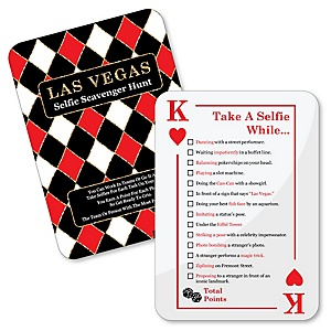 Las Vegas - Selfie Scavenger Hunt - Casino Party Game - Set of 12