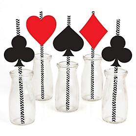 Las Vegas - Paper Straw Decor - Casino Party Striped Decorative Straws - Set of 24