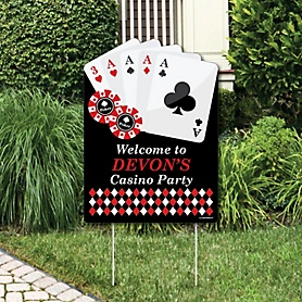 Las Vegas - Party Decorations - Casino Party Personalized Welcome Yard Sign