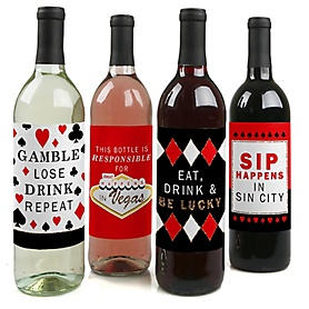 Las Vegas - Casino Party Decorations for Women and Men - Wine Bottle Label Stickers - Set of 4