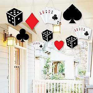 Hanging Las Vegas - Outdoor Casino Party Hanging Porch and Tree Yard Decorations - 10 Pieces