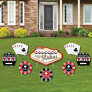 Las Vegas - Yard Sign & Outdoor Lawn Decorations - Casino Party Yard Signs - Set of 8