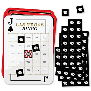 Las Vegas - Bar Bingo Cards and Markers - Casino Party Bingo Game - Set of 18