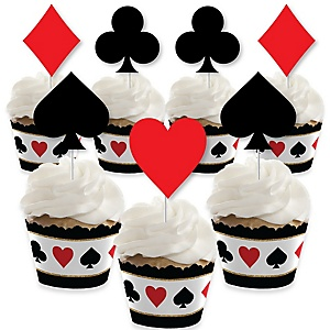 Las Vegas - Cupcake Decorations - Casino Party Cupcake Wrappers and Treat Picks Kit - Set of 24