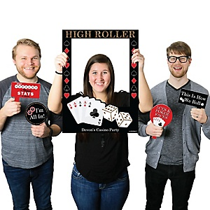 Las Vegas - Personalized Casino Themed Party Selfie Photo Booth Picture Frame & Props - Printed on Sturdy Material