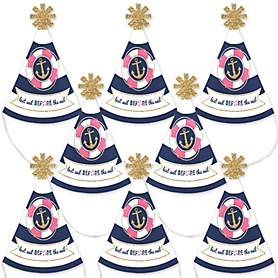 Last Sail Before The Veil - Mini Cone Nautical Bachelorette Party Hats - Small Little Party Hats - Set of 8