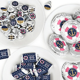 Last Sail Before The Veil - Mini Candy Bar Wrappers, Round Candy Stickers and Circle Stickers - Nautical Bachelorette and Bridal Shower Candy Favor Sticker Kit - 304 Pieces