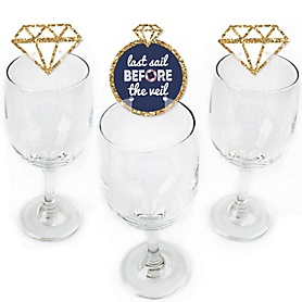 Last Sail Before The Veil - Shaped Nautical Bachelorette Wine Glass Markers - Set of 24