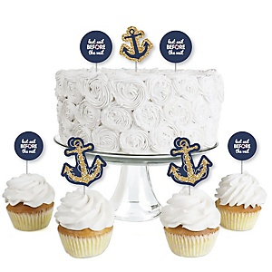 Last Sail Before The Veil - Dessert Cupcake Toppers - Nautical Bachelorette & Bridal Shower Clear Treat Picks - Set of 24