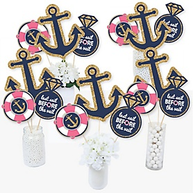 Last Sail Before The Veil - Nautical Bachelorette & Bridal Shower Centerpiece Sticks - Table Toppers - Set of 15