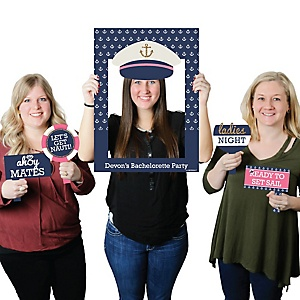 Last Sail Before The Veil - Personalized Bachelorette and Bridal Shower Selfie Photo Booth Picture Frame & Props - Printed on Sturdy Material