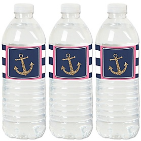 Last Sail Before The Veil - Nautical Bachelorette and Bridal Shower Water Bottle Sticker Labels - Set of 20