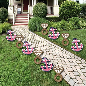 Last Sail Before The Veil - Diamond Ring and Anchor - Lawn Decorations - Outdoor Bachelorette Party Yard Decorations - 10 Piece