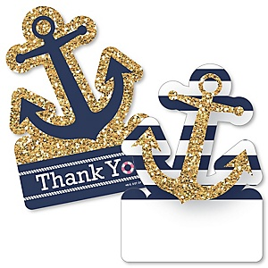 Last Sail Before The Veil - Shaped Thank You Cards - Nautical Bachelorette and Bridal Shower Thank You Note Cards with Envelopes - Set of 12