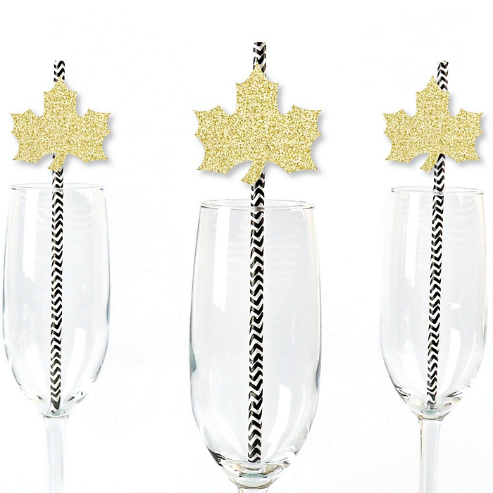 Gold Glitter Fall Leaf Party Straws - No-Mess Real Gold Glitter Cut-Outs & Decorative Fall, Thanksgiving and Friendsgiving Party Paper Straws - Set of 24