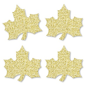 Gold Glitter Fall Leaf - No-Mess Real Gold Glitter Cut-Outs - Fall, Thanksgiving and Friendsgiving Party Confetti - Set of 24