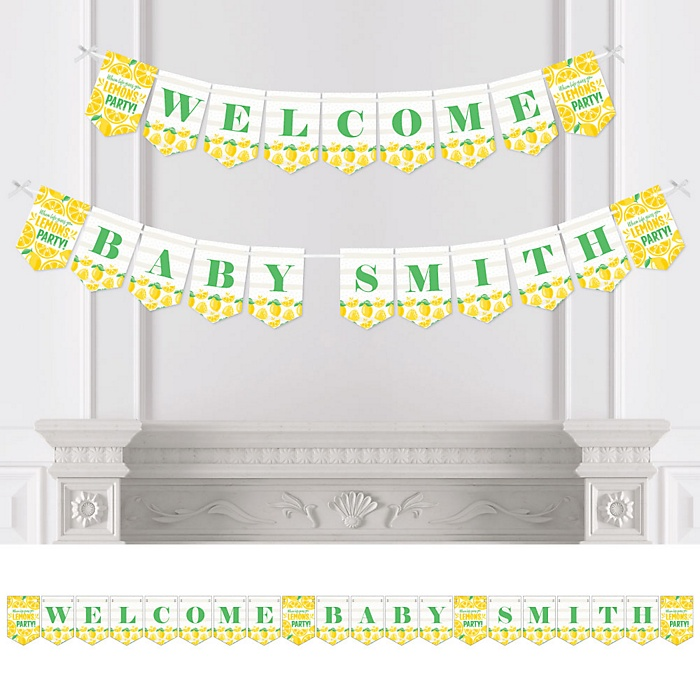 So Fresh - Lemon - Personalized Citrus Lemonade Baby Shower Bunting Banner and Decorations