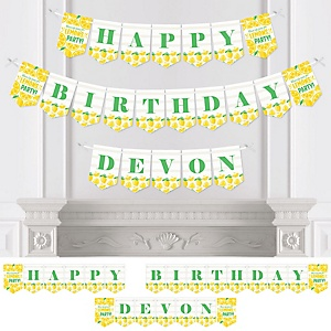 So Fresh - Lemon - Personalized Citrus Lemonade Birthday Party Bunting Banner and Decorations