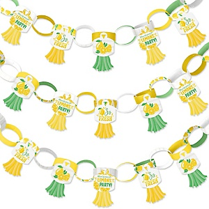So Fresh - Lemon - 90 Chain Links and 30 Paper Tassels Decoration Kit - Citrus Lemonade Party Paper Chains Garland - 21 feet