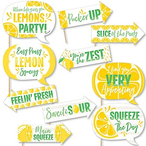 Funny So Fresh - Lemon - 10 Piece Citrus Lemonade Party Photo Booth Props Kit