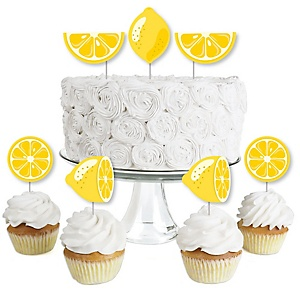 So Fresh - Lemon - Dessert Cupcake Toppers - Citrus Lemonade Party Clear Treat Picks - Set of 24