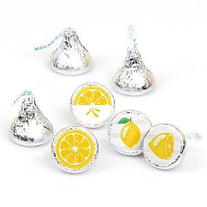 So Fresh - Lemon - Citrus Lemonade Party Round Candy Sticker Favors - Labels Fit Hershey's Kisses - 108 ct