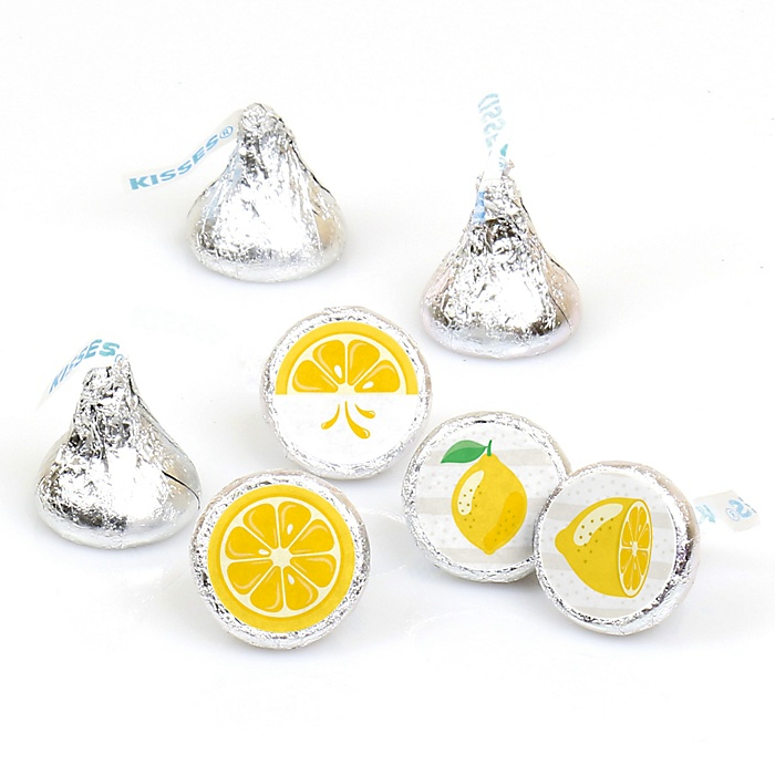 So Fresh - Lemon - Citrus Lemonade Party Round Candy Sticker Favors - Labels Fit Hershey's Kisses - 108 ct