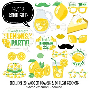 So Fresh - Lemon - 20 Piece Citrus Lemonade Party Photo Booth Props Kit