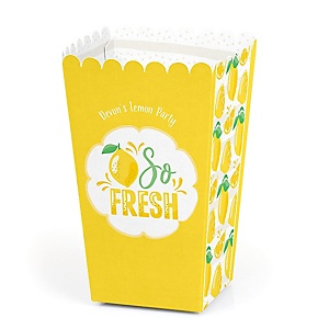 So Fresh - Lemon - Personalized Citrus Lemonade Party Favor Popcorn Treat Boxes - Set of 12