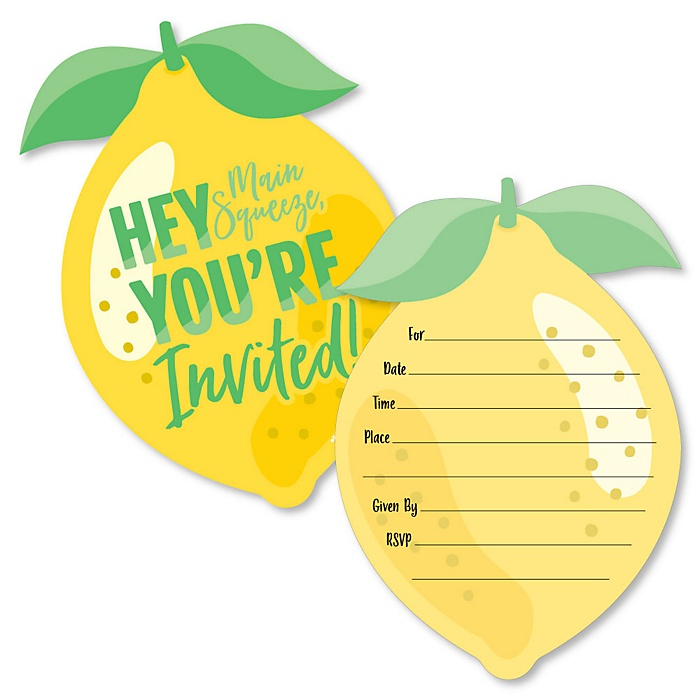 So Fresh - Lemon - Shaped Fill-In Invitations - Citrus Lemonade Party Invitation Cards with Envelopes - Set of 12