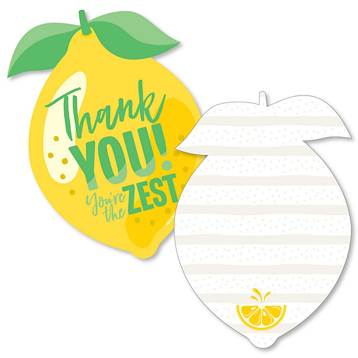 So Fresh - Lemon - Shaped Thank You Cards - Citrus Lemonade Party Thank You Note Cards with Envelopes - Set of 12
