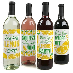 So Fresh - Lemon - Citrus Lemonade Party Decorations for Women and Men - Wine Bottle Label Stickers - Set of 4