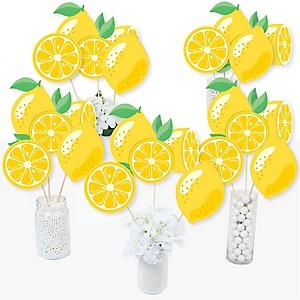 So Fresh - Lemon - Citrus Lemonade Party Centerpiece Sticks - Table Toppers - Set of 15