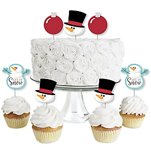 Let It Snow - Snowman - Dessert Cupcake Toppers - Christmas & Holiday Party Clear Treat Picks - Set of 24