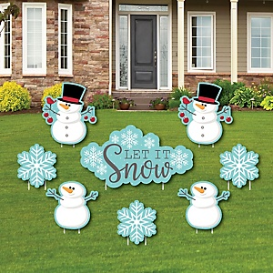 Let It Snow - Snowman - Yard Sign & Outdoor Lawn Decorations - Christmas & Holiday Yard Signs - Set of 8