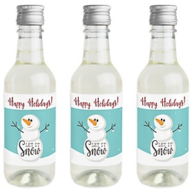 Let It Snow - Snowman - Mini Wine and Champagne Bottle Label Stickers - Christmas & Holiday Party Favor Gift - For Women and Men - Set of 16