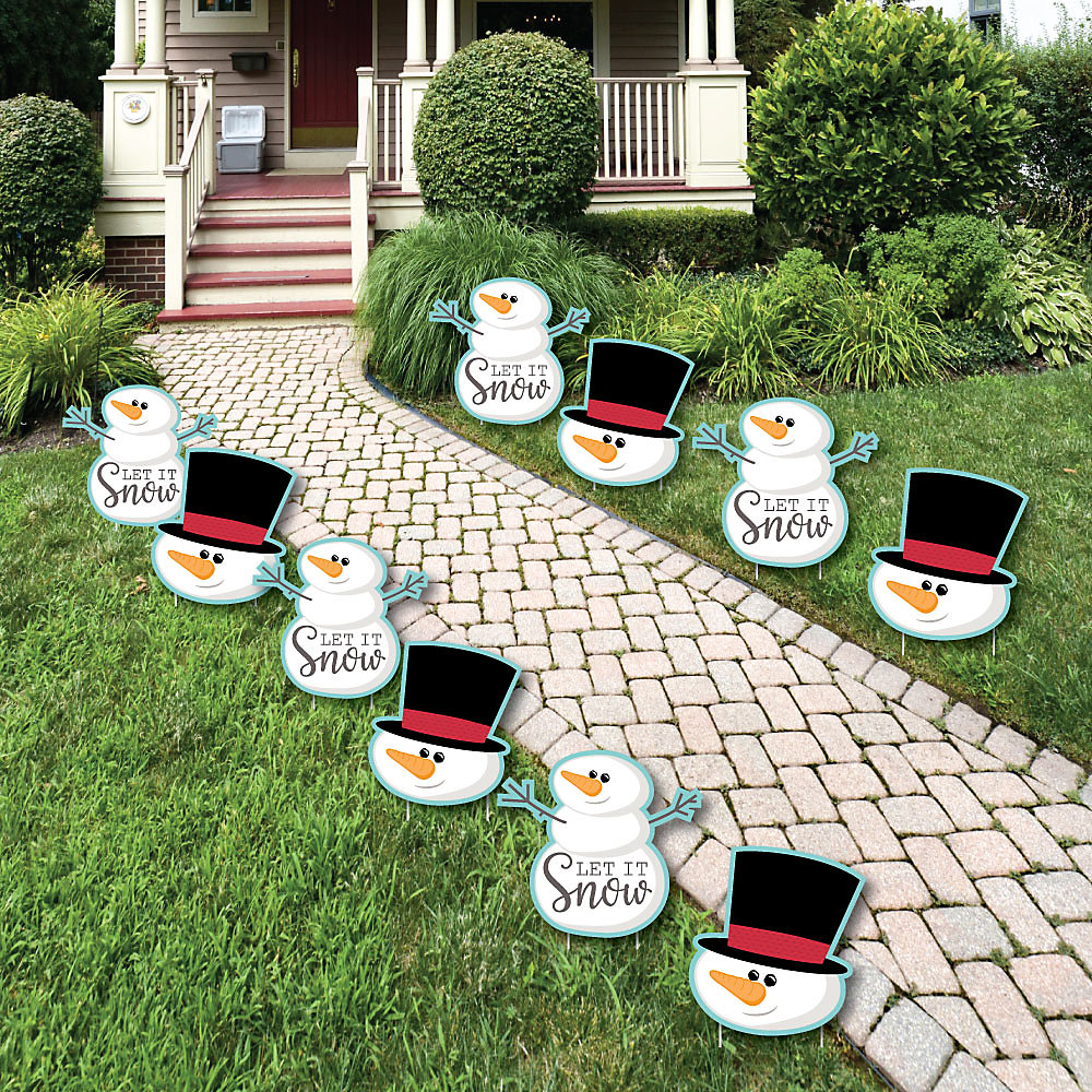 Outdoor Christmas Yard Decorations.Let It Snow Snowman Lawn Decorations Outdoor Christmas Holiday Yard Decorations 10 Piece