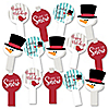 Let It Snow - Snowman - Christmas & Holiday Party Paddle Photo Booth Props – Selfie Photo Booth Props – Set of 14