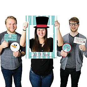 Let It Snow - Snowman - Personalized Christmas & Holiday Selfie Photo Booth Picture Frame & Props - Printed on Sturdy Material