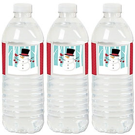 Let It Snow - Snowman - Christmas & Holiday Party Water Bottle Sticker Labels - Set of 20