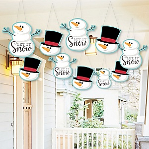 Hanging Let It Snow - Snowman - Outdoor Christmas & Holiday Hanging Porch & Tree Yard Decorations - 10 Pieces